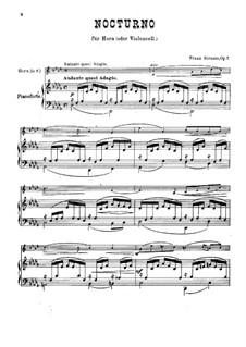 Ноктюрн для валторны (или виолончели) и фортепиано, Op.7: Партитура by Франц Штраус