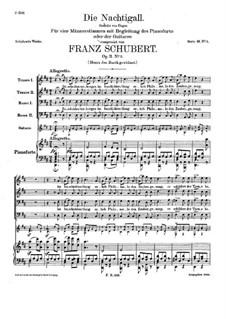 Соловей, D.724 Op.11 No.2: Для голосов и фортепиано (или гитары) by Франц Шуберт