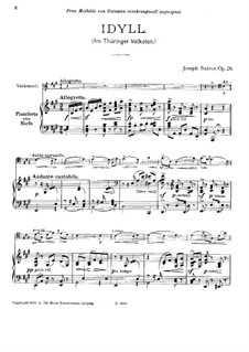 Идиллия для виолончели и фортепиано (или арфы), Op.26: Партитура by Йозеф Зульцер