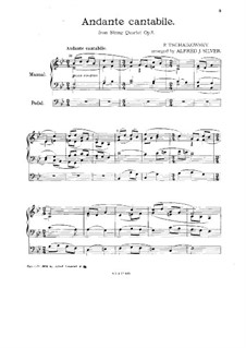 Струнный квартет No.1 ре мажор, TH 111 Op.11: Часть II, для органа by Петр Чайковский