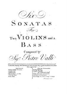 Шесть трио-сонат: Партия бассо континуо by Pietro Valli