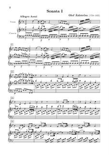 Четыре сонаты для скрипки и клавесина (или фортепиано), Op.2: Соната No.1 – партитура by Olof Åhlström