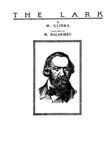 Транскрипция на романс 'Жаворонок' Глинки: Для фортепиано by Милий Балакирев