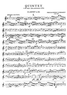 Фортепианный квинтет си-бемоль мажор: Партия кларнета by Николай Римский-Корсаков