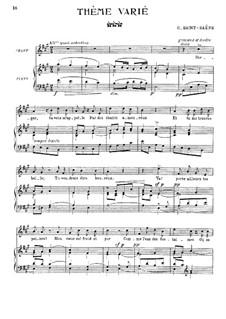 Thème varié for Voice and Piano: Thème varié for Voice and Piano by Камиль Сен-Санс