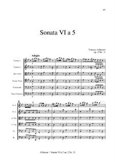 Шесть сонат для струнных и бассо континуо, Op.2: Соната No.6 by Томазо Альбинони