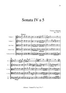 Шесть сонат для струнных и бассо континуо, Op.2: Соната No.4 by Томазо Альбинони