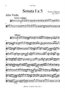 Шесть сонат для струнных и бассо континуо, Op.2: Весь сборник – партия альт-виолы by Томазо Альбинони