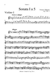 Шесть сонат для струнных и бассо континуо, Op.2: Весь сборник – партия первой скрипки by Томазо Альбинони
