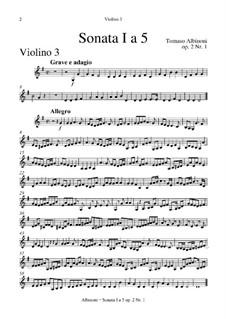 Шесть сонат для струнных и бассо континуо, Op.2: Весь сборник – партия третьей скрипки или альт-виолы by Томазо Альбинони