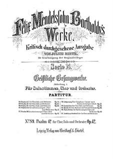 Psalm 'Wie der Hirsch schreit' (As the Hart Pants), Op.42: Партитура by Феликс Мендельсон-Бартольди