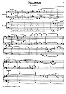 Concert variations for two pianos: Concert variations for two pianos by Екатерина Анисимова