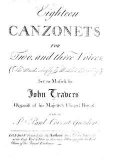 Восемнадцать канцонетт для голосов и бассо континуо: Восемнадцать канцонетт для голосов и бассо континуо by John Travers