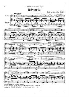 Rêverie for Violin and Harp, Op.24: Rêverie for Violin and Harp by Gabriel Verdalle