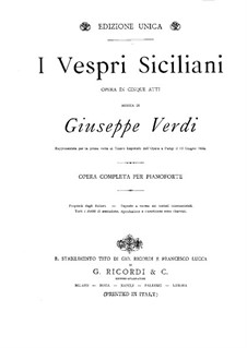 Сицилийская вечерня: Для фортепиано by Джузеппе Верди