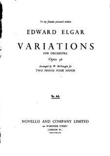 Фрагменты: Вариации No.1-9, для двух фортепиано в четыре руки by Эдуард Элгар