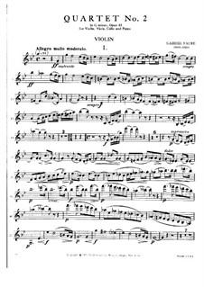 Фортепианный квартет No.2 соль минор, Op.45: Партия скрипки by Габриэль Форе