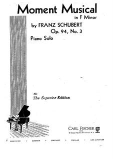 Шесть музыкальных моментов, D.780 Op.94: Музыкальный момент No.3 для фортепиано by Франц Шуберт
