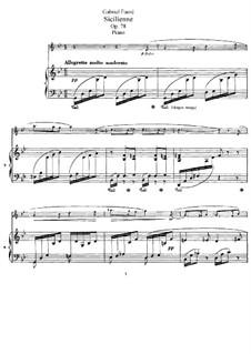 Сицилиана для виолончели и фортепиано, Op.78: Партитура, сольная партия by Габриэль Форе