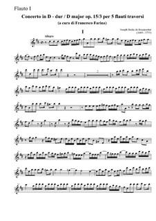 Концерт для пяти флейт No.3 ре мажор, Op.15: Концерт для пяти флейт No.3 ре мажор by Жозеф Бодин де Буамортье