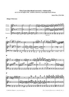 Шесть трио для двух флейт и виолончели: Трио No.1 соль мажор by Антонин Фильц