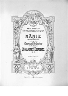 Nänie, Op.82: Партитура by Иоганнес Брамс