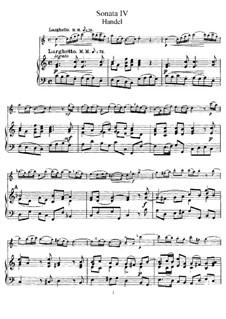 Соната для флейты и клавесина до мажор, HWV 365 Op.1 No.7: Партитура, сольная партия by Георг Фридрих Гендель