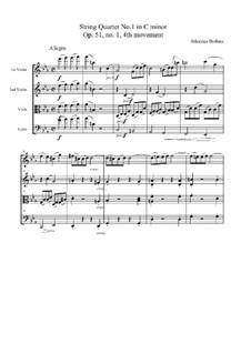Струнный квартет No.1 до минор, Op.51: Часть IV by Иоганнес Брамс