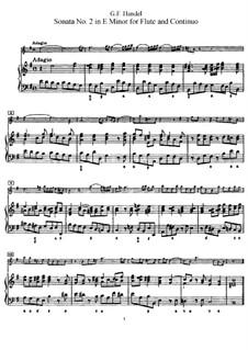 Соната для флейты и клавесина No.2 ми минор, HWV 375: Партитура, сольная партия by Георг Фридрих Гендель