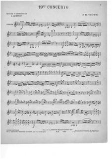 Концерт для скрипки с оркестром No.19 соль минор: Версия для скрипки и фортепиано – партия скрипки by Джованни Баттиста Виотти