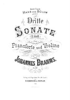 Соната для скрипки и фортепиано No.3 ре минор, Op.108: Партитура, сольная партия by Иоганнес Брамс