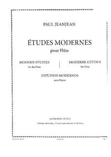 Seize Études Modernes for Flute: Seize Études Modernes for Flute by Paul Jeanjean