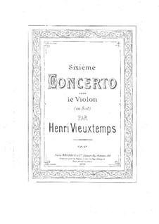 Концерт No.6 для скрипки с оркестром, Op.47: Сольная партия by Анри Вьетан