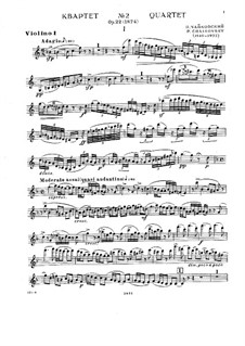Струнный квартет No.2 фа мажор, TH 122 Op.22: Партии by Петр Чайковский