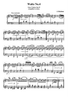 Вальс No.4: Аранжировка для фортепиано (облегченная версия) by Иоганнес Брамс