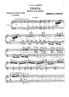 Испания : Для двух фортепиано в 4 руки – партия I фортепиано by Эммануэль Шабрие
