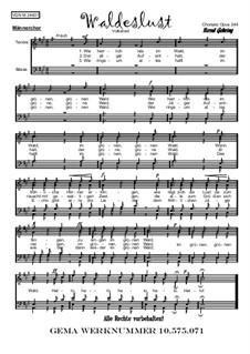 Waldeslust: For male choir, Op.244 by folklore