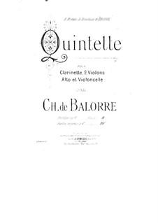 Квинтет для кларнета и струнных: Партия виолончели by Charles de Balorre