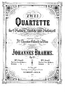 Струнный квартет No.2 ля минор, Op.51: Партии by Иоганнес Брамс