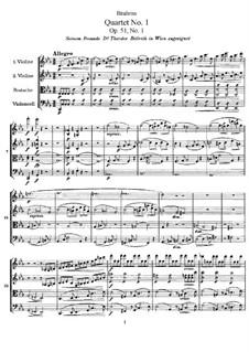 Струнный квартет No.1 до минор, Op.51: Партитура by Иоганнес Брамс