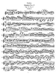 Струнный квартет No.2 ля минор, Op.51: Партия первой скрипки by Иоганнес Брамс