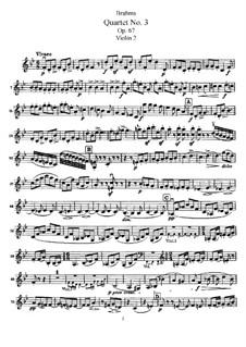 Струнный квартет No.3 си-бемоль мажор, Op.67: Партия второй скрипки by Иоганнес Брамс