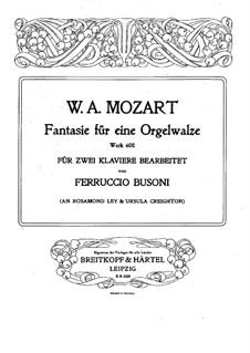 Фантазия для механического органа фа минор, K.608: Версия для двух фортепиано в 4 руки by Вольфганг Амадей Моцарт
