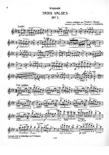 Вальсы, Op. posth.70: Для скрипки и фортепиано – партия скрипки by Фредерик Шопен
