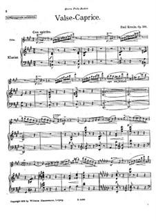 Вальс-каприс для флейты и фортепиано, Op.201: Партитура, сольная партия by Эмиль Кронке