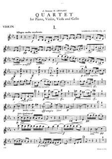 Фортепианный квартет No.1 до минор, Op.15: Партия скрипки by Габриэль Форе