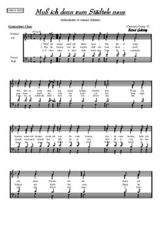 Muss ich denn zum Städtele 'naus: For mixed choir, Op.52 by folklore
