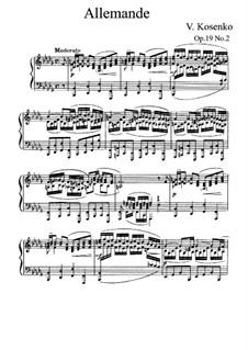Одинадцать этюдов в форме старинных танцев, Op.19: No.2 Аллеманда by Viktor Stepanovych Kosenko