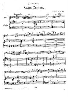 Вальс-каприс для флейты и фортепиано, Op.201: Партитура by Эмиль Кронке
