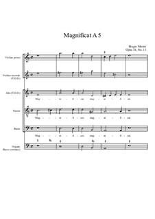 Magnificat a 5, Op.18 No.13: Magnificat a 5 by Бьяджо Марини